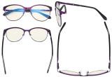 Damen Blaulicht Filterbrille - UV420 Schutz Cateye Computer Brille - Anti Blue Ray Brille Damen LX19024-Lila-BB40