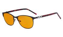 Cat-eye Damen-Blaulicht-Schutzbrille mit orange getönter Filtergläser zum Schlafen - Computerbrillen Damen-Acetat-Bügel mit Kristallen - LX19020-Schwarz-BB98