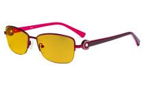 Halbrand Damen Blaulicht schutzt Brille - mit Bernsteinfarbener Filtergläser Computerbrillen Damen Acetat Bügel mit Kristallen - LX19008-Rot-BB90