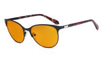 Blaulicht Schutzbrille Damen mit orange getönten Filtergläser zum Schlafen - Cateye Computer Brillen - Anti Blue Ray BrilleDamen -LX19024-Schwarz-BB98