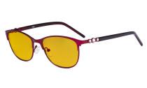 Cat-eye Damen Blaulicht Schutzbrille mit bernsteinfarbener Filtergläser- Computer Brillen Damen Acetat Bügel mit Kristallen -LX19020-Rot-BB90