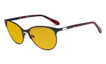 Damen Blaulicht Schutzbrille mit bernsteinfarbener Filtergläser - Cateye Computerbrillen - Anti Blue Ray Brillen Damen LX19024-Schwarz-BB90