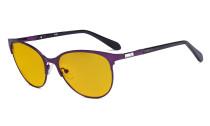 Damen Blaulicht Schutzbrille mit bernsteinfarbener Filtergläser - Cateye Computerbrillen - Anti Blue Ray Brillen Damen LX19024-Lila-BB90