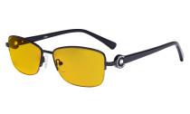 Halbrand Damen Blaulicht schutzt Brille - mit Bernsteinfarbener Filtergläser Computerbrillen Damen Acetat Bügel mit Kristallen -LX19008-Schwarz-BB90