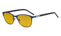Cat-eye Damen Blaulicht Schutzbrille mit bernsteinfarbener Filtergläser- Computer Brillen Damen Acetat Bügel mit Kristallen -LX19020-Blau-BB90