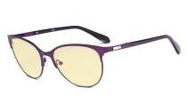Damen Blaulicht Schutzbrille mit gelber Filtergläser - Cateye Computerbrillen - Anti Blue Ray Brillen Damen - LX19024-Lila-BB60