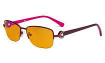 Halbrand Damen Blaulicht schutzbrille - mit orange getönten Filtergläser zum Schlafen - Computerbrillen Damen Acetat Bügel mit Kristallen -LX19008-Rot-BB98