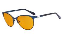Blaulicht Schutzbrille Damen mit orange getönten Filtergläser zum Schlafen - Cateye Computer Brillen - Anti Blue Ray BrilleDamen -LX19024-Blau-BB98