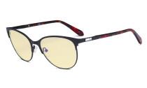Damen Blaulicht Schutzbrille mit gelber Filtergläser - Cateye Computerbrillen - Anti Blue Ray Brillen Damen - LX19024-Schwarz-BB60