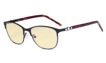 Cat-eye Damen-Blaulicht-Schutzbrille mit gelber Filtergläser - Computerbrille Damen-Acetat-Bügel mit Kristallen -LX19020-Schwarz-BB60