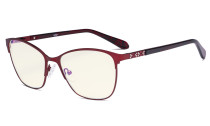 Damen Blaulicht Filterbrille - UV420 Protection Große Cateye Computer Brillen Damen - Anti Bildschirm Blue Rays -LX19023-Rot-BB40