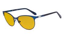 Damen Blaulicht Schutzbrille mit bernsteinfarbener Filtergläser - Cateye Computerbrillen - Anti Blue Ray Brillen Damen LX19024-Blau-BB90