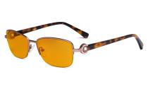 Halbrand Damen Blaulicht schutzbrille - mit orange getönten Filtergläser zum Schlafen - Computerbrillen Damen Acetat Bügel mit Kristallen - LX19008-Rosarot-BB98