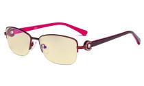 Halbrand Damen Blaulicht Schutztbrille - mit gelber Filtergläser Computerbrillen Damen Acetat Bügel mit Kristallen - LX19008-Rot-BB60