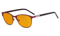 Cat-eye Damen-Blaulicht-Schutzbrille mit orange getönter Filtergläser zum Schlafen - Computerbrillen Damen-Acetat-Bügel mit Kristallen -LX19020-Rot-BB98