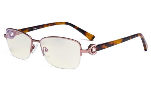 Halbrand Damen Blaulichtfilterbrille - UV-Schutz Computerbrillen Damen Acetat Bügel mit Kristallen - LX19008-Rosarot-BB40
