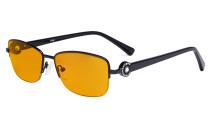 Halbrand Damen Blaulicht schutzbrille - mit orange getönten Filtergläser zum Schlafen - Computerbrillen Damen Acetat Bügel mit Kristallen -LX19008-Schwarz-BB98