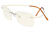 Rimless Blue Light Filter Computer Glasses Men - Cut UV Titanium Screen  Reading Glasses - Gold UVR1509