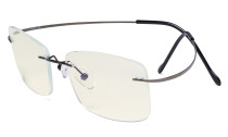 Rimless Blue Light Filter Computer Glasses Men - Cut UV Titanium Screen  Reading Glasses - Gunmetal UVR1509