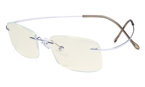 Blue Light Filter Reading Glasses Women Men - UV Titanium Rimless Computer Readers - Silver UVR1508