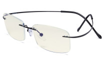 Blue Light Filter Reading Glasses Women Men - UV Titanium Rimless Computer Readers - Black UVR1508