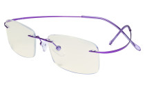 Blue Light Filter Reading Glasses Women Men - UV Titanium Rimless Computer Readers - Purple UVR1508