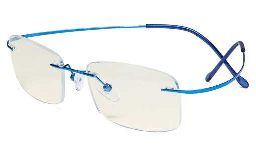 Blue Light Filter Reading Glasses Women Men - UV Protection Titanium Rimless Computer Readers - Blue UVR1508