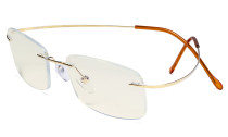 Blue Light Filter Reading Glasses Women Men - UV Titanium Rimless Computer Readers - Gold UVR1508
