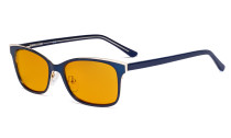 Ladies Blue Light Blocking Glasses with Orange Tinted Filter Lens for Sleeping - Design Computer Eyeglasses Women Anti Glare - Reduce Blue Rays Eye Strain - Blue LX19006-BB98