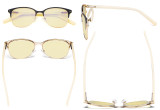 Ladies Blue Light Blocking Glasses with Yellow Filter Lens - Round Computer Eyeglasses Women Anti Glare - Reduce Blue Rays Eye Strain - Black/Gold LX19004-BB60