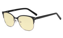 Ladies Blue Light Blocking Glasses with Yellow Filter Lens - Cateye Computer Eyeglasses Women Anti Glare - Reduce Blue Rays Eye Strain - Black/Gunmetal LX19002-BB60