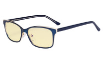 Ladies Blue Light Blocking Glasses with Yellow Filter Lens - Design Computer Eyeglasses Women Anti Glare - Reduce Blue Rays Eye Strain - Blue LX19006-BB60