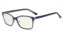 Ladies Blue Light Filter Glasses - Design Computer Eyeglasses Women UV420 Filter  Anti Glare - Reduce Blue Rays Eye Strain - Blue LX19006-BB40