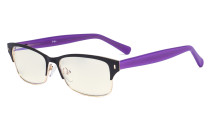 Ladies Blue Light Filter Glasses - Computer Eyeglasses Women UV420 Filter  Anti Glare - Reduce Blue Rays Eye Strain - Black/Gold LX19003-BB40