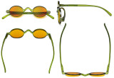 Blue Light Blocking Glasses - Anti Glare Lightweight Computer Glasses with Orange Tinted Filter Lens for Nighttime - Small Round Eyeglasses for Men Women - Green DSR077X