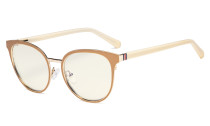 Ladies Blue Light Filter Glasses - Oversize Cateye Computer Eyeglasses Women UV420 Filter  Anti Glare - Reduce Blue Rays Eye Strain - Beige LX19005-BB40