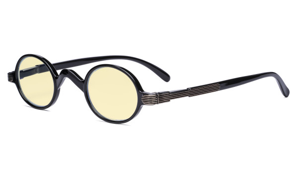 Blue Light Blocking Glasses - Anti Glare Lightweight Computer Glasses with Yellow Filter Lens - Small Round Eyeglasses for Men Women with Spring Hinges - Black TMR077X
