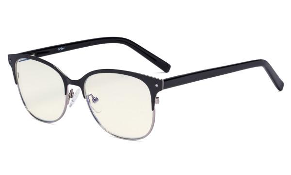Ladies Blue Light Filter Glasses - Cateye Computer Eyeglasses Women UV420 Filter  Anti Glare - Reduce Blue Rays Eye Strain - Black/Gunmetal LX19002-BB40