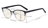 Ladies Blue Light Filter Glasses - Oversize Cateye Computer Eyeglasses Women UV420 Filter  Anti Glare - Reduce Blue Rays Eye Strain - Black LX19005-BB40