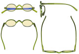 Blue Light Blocking Glasses - Anti Glare Lightweight Computer Glasses with Yellow Filter Lens - Small Round Eyeglasses for Men Women with Spring Hinges - Green TMR077X