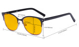 Ladies Blue Light Blocking Glasses with Amber Filter Lens - Design Computer Eyeglasses Women Anti Glare - Reduce Blue Rays Eye Strain - Black LX19006-BB90