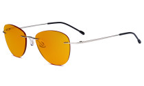 Computer Reading Glasses Blue Light Blocking with Orange Tinted Filter Lens for Nighttime Sleeping -Rimless Pilot Readers Anti UV Rays Glare Women,Silver DSWK9901B