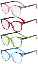 4 Pack Ladies Reading Glasses - Oversize Round Stylish Readers for Women Reading R9002D