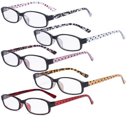 5 Pack Ladies Reading Glasses with Polka Dots Patterned Temples for Women Reading R908P