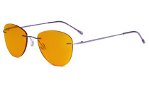 Computer Reading Glasses Blue Light Blocking with Orange Tinted Filter Lens for Nighttime Sleeping -Rimless Pilot Readers Anti UV Rays Glare Women,Purple DSWK9901B