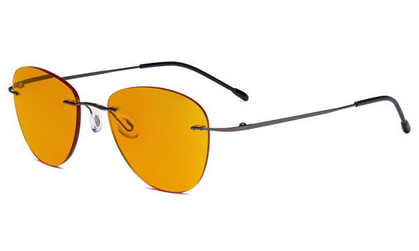 Computer Reading Glasses Blue Light Blocking with Orange Tinted Filter Lens for Nighttime Sleeping -Rimless Pilot Readers Anti UV Rays Glare Women,Gunmetal DSWK9901B