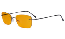 Frameless Computer Glasses Women - Blue Light Blocking Readers with Orange Tinted Filter Lens for Nighttime - Gunmetal DSWK9905B