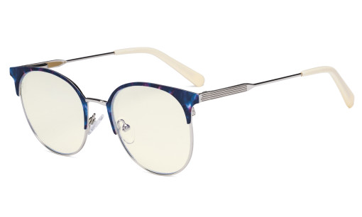 Ladies Round Blue Light Filter Glasses - Anti Blue Rays Reduce Glare UV Protection Computer Eyeglasses Women Horn Rimmed Design - Beige Temple Tips LX19001-BB40