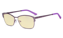 Blue Light Blocking Computer Glasses with Yellow Filter Lens - Anti Radiation Anti Glare UV Rays Reduces Eyestrain Eyeglasses Women Purple with Crystals TM17001