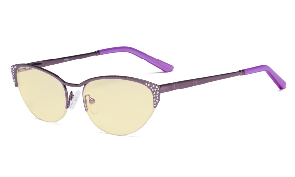 Blue Light Blocking Computer Glasses with Yellow Filter Lens - Anti Radiation Anti Glare UV Rays Reduces Eyestrain Cat-eye Eyeglasses Women Half-rim Purple with Crystals TM17002